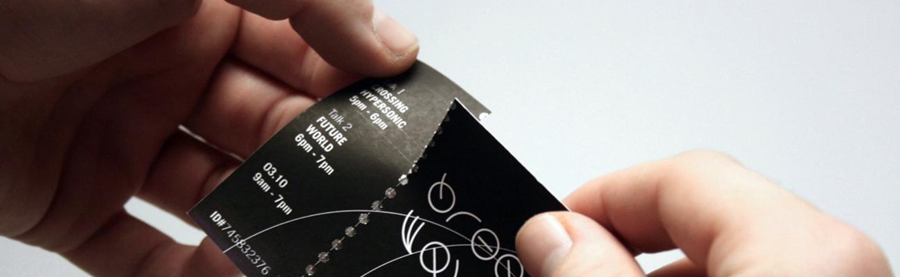 Tickets mit perforationslinie für Vorverkauf von Veranstaltungen, Konzerten, Lotterien, Essensgutscheinen...